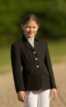 EQUI THEME CHILDRENS SHOW COMPETITION JACKET - BLACK /SILVER NAVY/SILVER  SALE